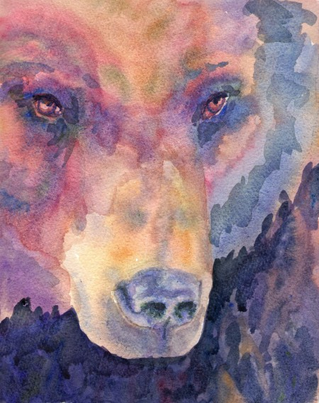 Grizzly Bear Watercolour Painting
