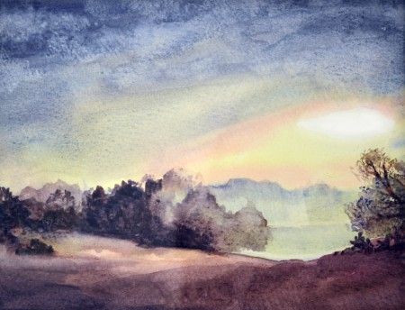 Watercolour landscape painting of Frensham, Surrey