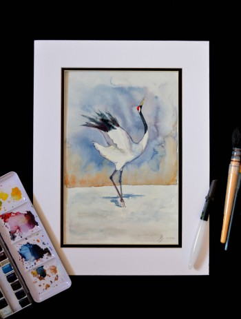 red crowned crane watercolour